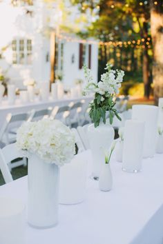 Modern white wedding centerpieces