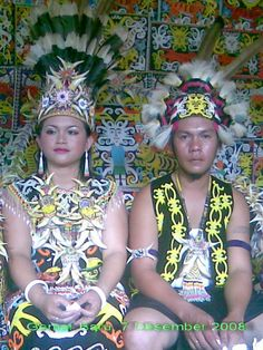 Couple wearing traditional clothes from Dayak village, East Kalimantan