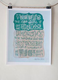 Gandhi Quote - Digital Print Mini Poster
