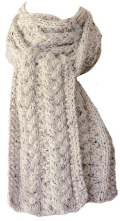 Hand Knit Scarf Winter White Tweed Cedar by StudioatRedTopRanch