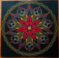 Colorful nail and string art mandala, cm String Wall Art, Nail String Art, String Art Tutorials, String Art Patterns, Japanese Embroidery, Flower Embroidery, Embroidered Flowers, Embroidery Stitches, Hilograma Ideas