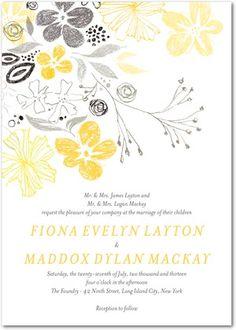 Signature White Textured Wedding Invitations Bridal Botanical - Front : Mustard