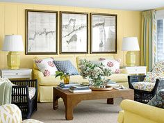 Mellow Yellow The homeowners of this Cape Cod home painted over the living room's dark-pine paneling and then reupholstered their old sofa in a complementary hue. The rattan armchairs date to the 1940s, while the maps of Nantucket Sound are from 1874. The walls are painted Cambridge Heights by Benjamin Moore.