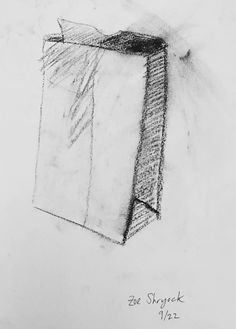 Charcoal shading study of paper bag by Zoe