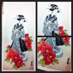 geisha season n°1 Japanese Sleeve, Japanese Geisha, Oriental Tattoo, Japan Style, Tattoo Flash, Traditional Japanese, Japan Fashion, Girl Tattoos, Animals And Pets