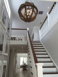 View topic - Our Custom Hamptons Inspired Home - Painting and Render Hamptons House, The Hamptons, Duplex Design, House Design, Stair Banister, Hallmark Homes, Foyer Chandelier, Entryway Lighting, Staircase Makeover