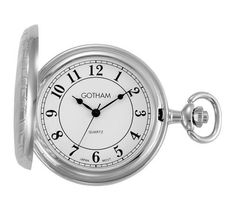 """Gotham Men's Silver-Tone Polished Finish White Dial Covered Quartz Pocket Watch # GWC15442SA Gotham. $34.95. Precision Japanese analog quartz movement. Elegant and classic silver-tone regal pinstripe design with polished finish. Arrives with deluxe draw string pouch and gift box, operating instructions and lifetime limited warranty card. Rich white dial with classic Arabic numerals and antique style hands. Includes matching 15"""" curb pocket watch chain with spring ring attachment"""