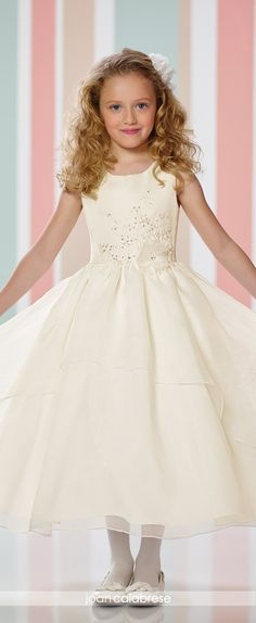 Joan Calabrese for Mon Cheri - Fall 2016 - Style No. 216316 - sleeveless satin and organza tea-length flower girl dress with gathered high-low overlay skirt