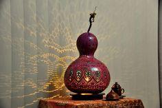 Sold out...  80 €      Authentischen Kürbis Lampen Autentici Lampade Zucca Authentic Gourd Lamp