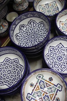 Very intricate patterns. I like the variety of detail on the bowls, the center design is obviously the focal point of the bowls.