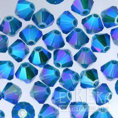 9d1f93d98 CARIBBEAN BLUE OPAL AB2X #5328 4mm Swarovski Crystal Bicone Beads  (Bulk360pcs) Beading Supplies