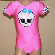 Girls Leotard with Girly Monster Applique Size 2T  C by SENDesigne, $34.00