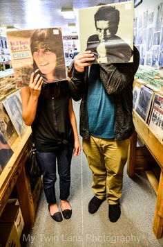 Record Store Engagement Photos! Unique and fun for this music obsessed couple. Mytwinlens.carbonmade.com