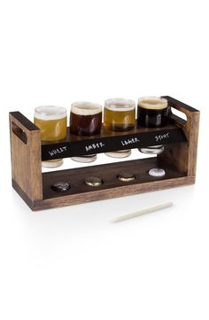How cool is this beer-flight holder that comes packaged with four classic glasses to hold the favorite craft brews. Under each glass slot, there is a small hole sized to hold a bottle cap, making it easy to identify the new favorites.