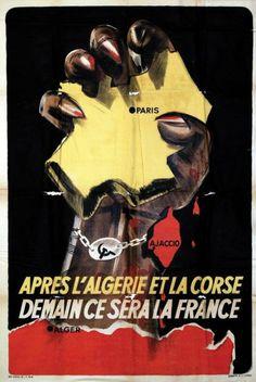 * Après l'Algérie et la Corse Demain ce sera la France.Affiche réalisée par le Gouvernement de Vichy lors de la libération de la Corse en 1943
