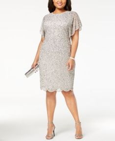 Adrianna Papell Plus Size Beaded Flutter-Sleeve Dress Socialize in style. Elegant embellishments veil an Adrianna Papell plus size dress finished with scalloped edges that look fresh, modern and pretty.Plus Size Womens Clothing DiscountPlus Size Wome Plus Size Womens Clothing, Plus Size Outfits, Plus Size Fashion, Clothes For Women, Mob Dresses, Fashion Dresses, Short Sleeve Dresses, Dresses With Sleeves, Halter Dresses