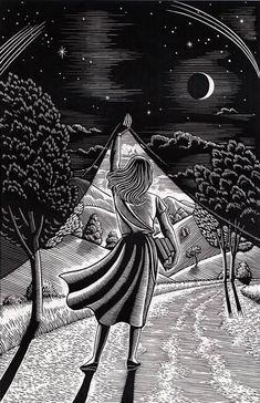 I like this idea of presenting diferent places, imagined places in drawings. Douglas Smith scratchboard art, born in NYC Art And Illustration, Art Scratchboard, Kratz Kunst, Douglas Smith, Scratch Art, Inspiration Art, Art Graphique, Day For Night, Night Owl