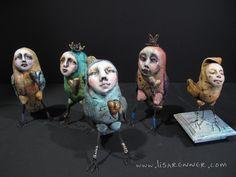 Polymer clay Bird Peeps by Lisa Renner.