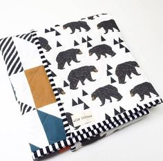 Modern Wholecloth Baby Quilt-Baby Boy Quilt for Sale-Baby Quilt Blanket-Woodland Bears-Orange Grey Blue Puzzlecloth Quilt by WildLittles on Etsy