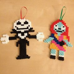Jack Skellington and Sally perler beads by ssaunders84