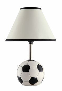 Set of 2 Casual Style Soccer Table Lamp with White Fabric Shade