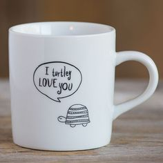 "Turtle-y Love You Thought Bubble Mug - Our ceramic Thought Bubble mugs are so cute! ""I Turtle-y Love You"" sentiment and turtle have a hand-drawn look. Comes in a box, ready for gifting!"