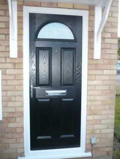 2 Panel 2 Arch Drop Diamond Composite Front Door in Red Doors