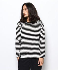 SQUOVAL Mens(スクオーバル メンズ)のSUPIMA ボーダーロングTシャツ(Tシャツ・カットソー)|ブラック