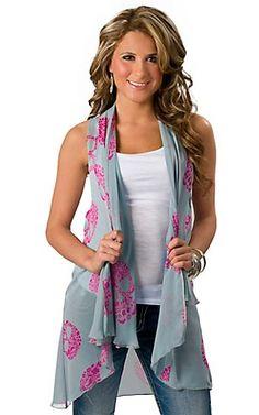 Karlie Women's Blue and Fuschia Paisley Skull Hi-Lo Fashion Vest