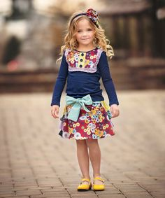 Look what I found on #zulily! Red & Yellow Floral Jaycie Skirt - Toddler & Girls #zulilyfinds