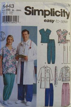 Simplicity 5443 Women's and Men's Scrub Top, Jacket in Two Lengths, Pants, Tie and Hairband