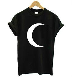 Aliexpress.com: Comprar Crescent moon Imprimir Mujeres camiseta de Algodón Casual camiseta Divertida De La Señora Top Camiseta Inconformista Tumblr Z 812 Nave de La Gota de t shirt fiable proveedores en ZYTJY Hipster Store