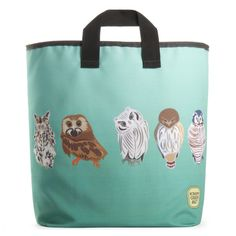 Owls Grocery Bag / Scrappy Product green bag made from 100% recycled water bottle fabric!  Washable, Dryable and sustainable.  It can go back to mill to be recycled again!