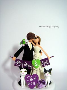 Romantic- Customized wedding cake topper with the bird and the cats