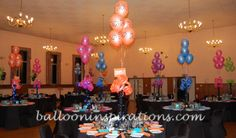 Bat Mitzvah Table Centerpieces | music themed bat mitzvah decorations | ballooninspirations.com