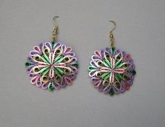 Quilling Earrings, Pink Green Lavender Gold Metallic Edged