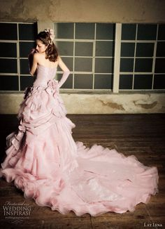 Japanese model Fujii Lena 藤井リナ in a lavender pink wedding dress