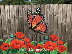 You can now have your own beautiful Poppy Fence. Weatherproof panels Designed by Lori Gomez Art are now available for purchase Garden Fence Art, Garden Mural, Garden Deco, Garden Yard Ideas, Backyard Fences, Backyard Projects, Garden Crafts, Flower Fence, Flower Mural