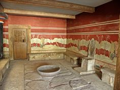 BRONZE-AGE THRONE ROOM FROM THE KNOSSOS PALACE COMPLEX ON CRETE  --  Circa 1500 BCE  --  Note the built-in bench seats & a washbasin for ritual purification.