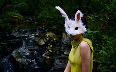 Imitación piel blanco conejo máscara hecho a mano por SpiritParade