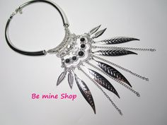 Hippie Style, Chokers, Ornaments, Etsy, Choker, Feathers, Neck Chain, Silver, Chains