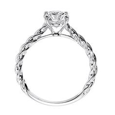 """Artcarved """"Joanna"""" Diamond Solitaire Engagement Ring Featuring a Delicate Rope Design in 14K White Gold"""