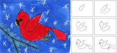 Watercolor Cardinal - Art Projects for Kids - - Watercolor Cardinal - Art Projects for Kids Christmas Art Projects, Winter Art Projects, School Art Projects, Projects For Kids, Winter Project, Art Lessons For Kids, Art For Kids, January Art, 2nd Grade Art