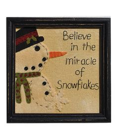 Take a look at this Believe in Snowflakes Framed Wall Art by Pearson's Simply Primitives on #zulily today!