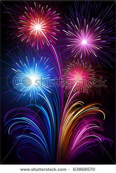 fish shaped fireworks | ... Of Beautiful, Colorful Fireworks In A Vector Clip Art Illustration