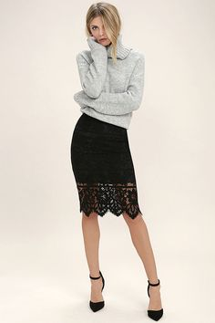 Shine like never before in the Swoon-light Black Lace Midi Skirt! Lovely floral lace falls from a high waist, to a flattering midi hem with scalloped detail. Hidden side zipper/clasp.