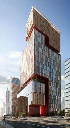 Dougong Tower Beijing by Woods Bagot Architects, 42 floors Office Building Architecture, Futuristic Architecture, Facade Architecture, Contemporary Architecture, Amazing Architecture, Architecture Portfolio, Tower Building, Building Facade, Building Design