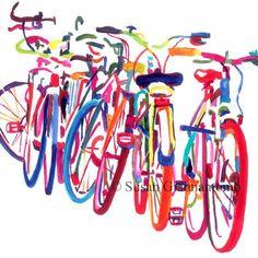 Bicycle art print, colorful bikes, beautiful giclee Bike Jam, by Susan Giannantonio available in 2 sizes Bike Jam, large bicycle art print by Susan Giannantonio Velo Biking, Bel Art, Bike Poster, Bicycle Art, Bicycle Drawing, Bicycle Tattoo, Bicycle Painting, Bicycle Design, Cycling Art