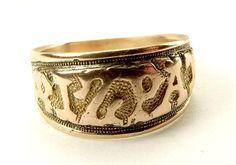 Antique Victorian 9ct Rose Gold MIZPAH Ring 1889