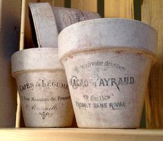 Home and Garden  Vintage inspired flower pots by OnionSkinDesigns, $56.00